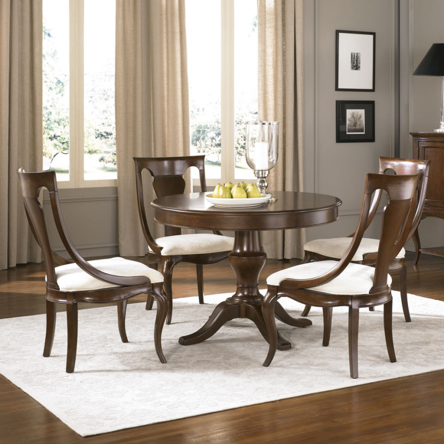 American Drew Cherry Grove NG 5 Poem Round Dining Room Set In Brown