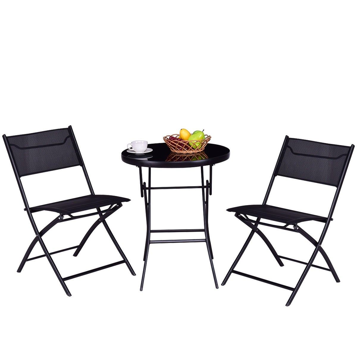 Outdoor Patio 3 Pieces Folding Round Table And Chair Suit Set