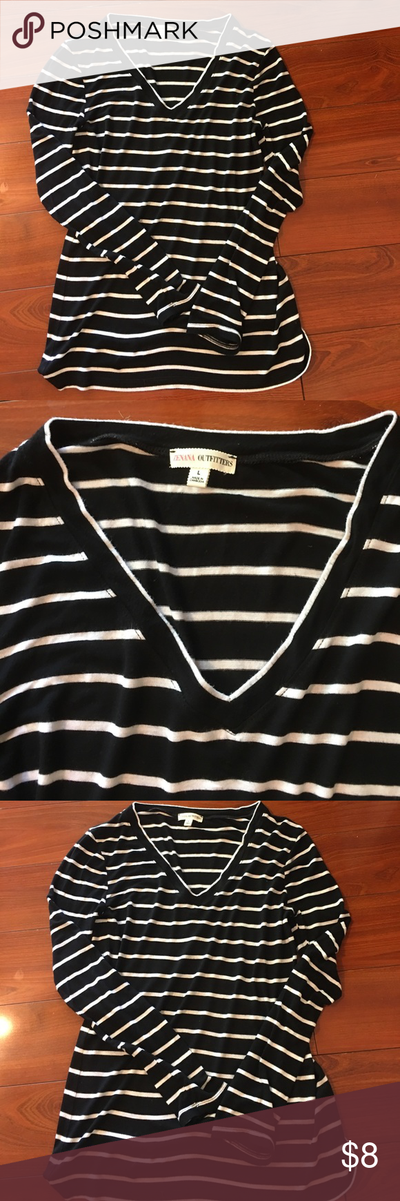 ZENAA OUTFITTERS long sleeve V-neck shirt Large ZENAA OUTFITTERS long sleeve V-neck shirt. Black & white striped. Fast shipping!! Zenana Outfitters Tops Tees - Long Sleeve