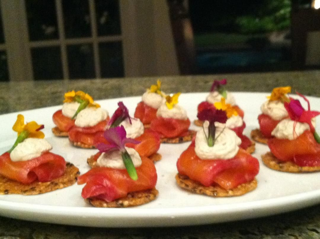 Beet cured salmon with dill goat cheese cream