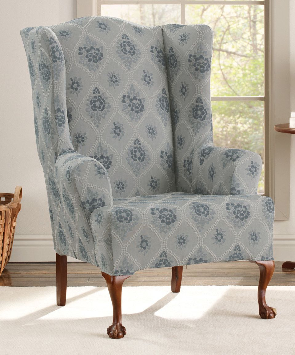 blue wingback chair slipcovers soccer for seniors look what i found on zulily stretch vintage floral wing slipcover by sure fit zulilyfinds