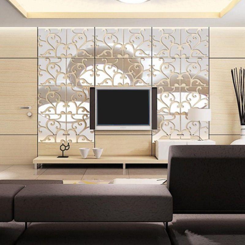 32pcs DIY 3D Acrylic Modern Mirror Decal Mural Wall Sticker Home Decor Removable