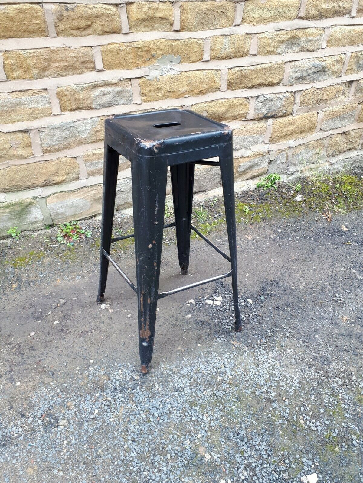 Vintage Retro Tolix Style Tall Breakfast Bar Stool Black