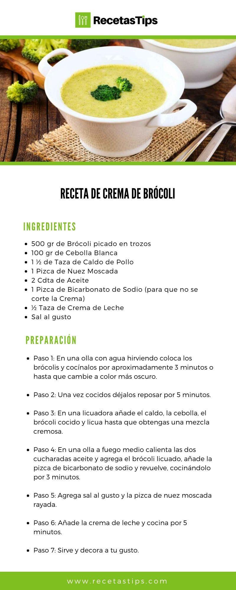 Receta De Crema De Brócoli Casera Facil Y Rapida Recetas De Comida Fáciles Recetas De Comida Crema De Brocoli Receta