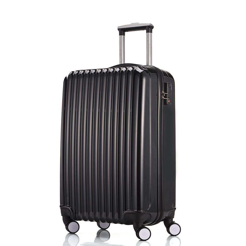 Fochier Luggage Medium Suitcase Lightweight 4 Wheels in Black 24 ...