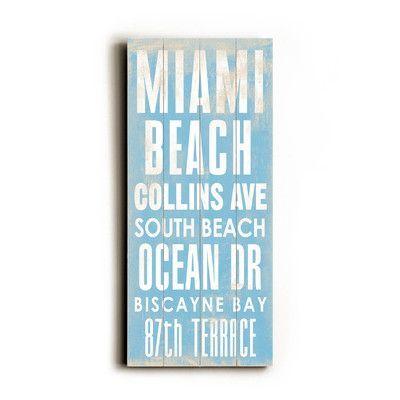Artehouse Llc Miami Beach Transit By Cory Steffen Textual Art Plaque Wayfair Transit Sign Miami Beach Beach Wall Decor