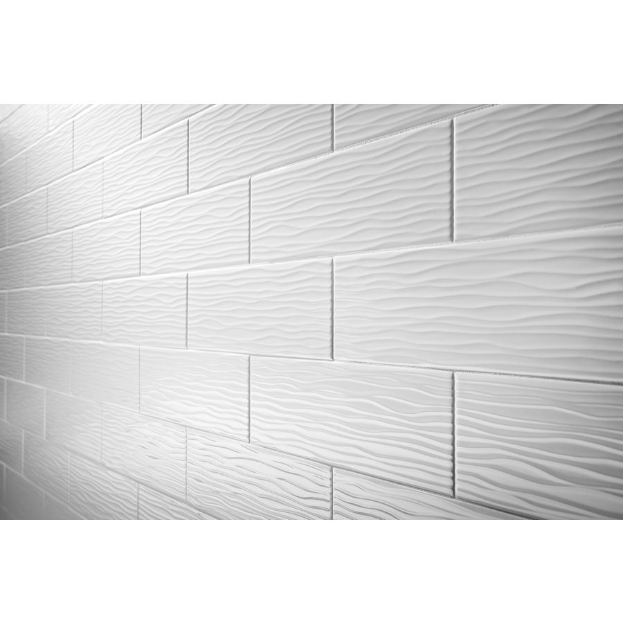 Allen Roth Wavecrest White Gloss Ceramic Indoor Outdoor Wall Tile Common 4 In X 12 Actual 25 75 At Lowes