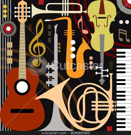 Abstract musical instruments Vector Illustration - Download art ...