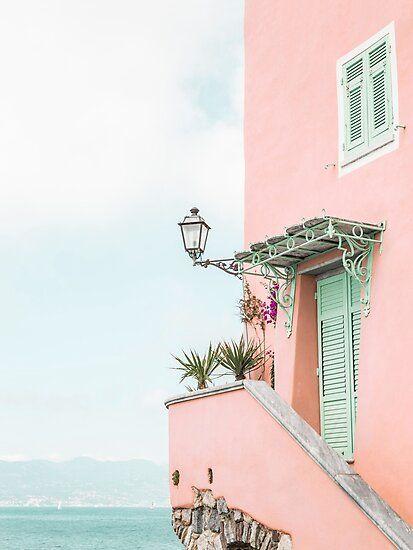 Ocean pink beach house Photographic Print by Digital  Cloud