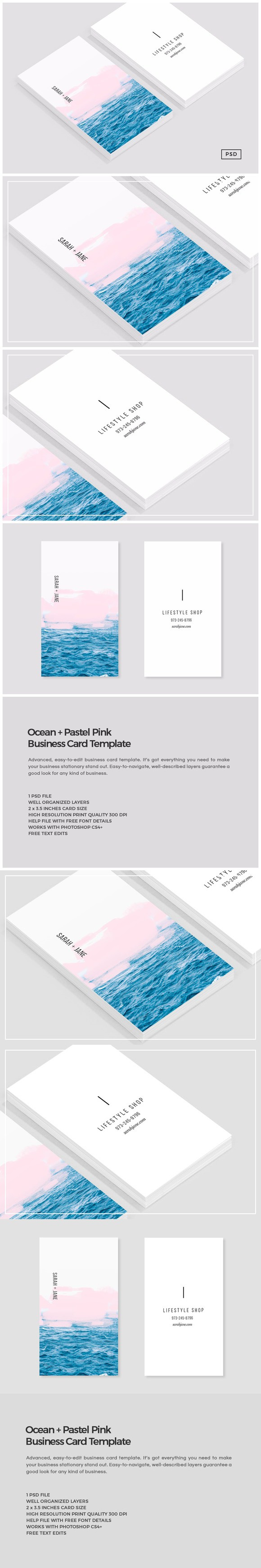 Ocean pink business card template book layout pinterest ocean pink business card template reheart Image collections