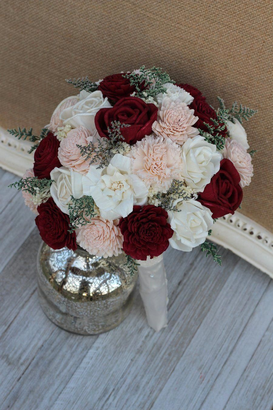 Burgundy Blush Pink Ivory Sola Wood Bridal Bouquet Maroon Burgundy Wedding Flowers Bridal Bouquets Burgundy Wedding Flowers Wedding Flowers Bridal Bouquets