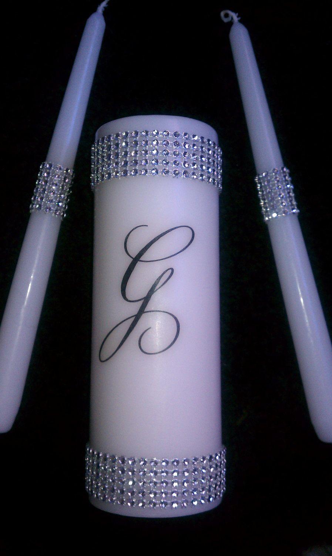 Monogram Glitz And Glam Unity Candle Set My Seesters Wedding Maid
