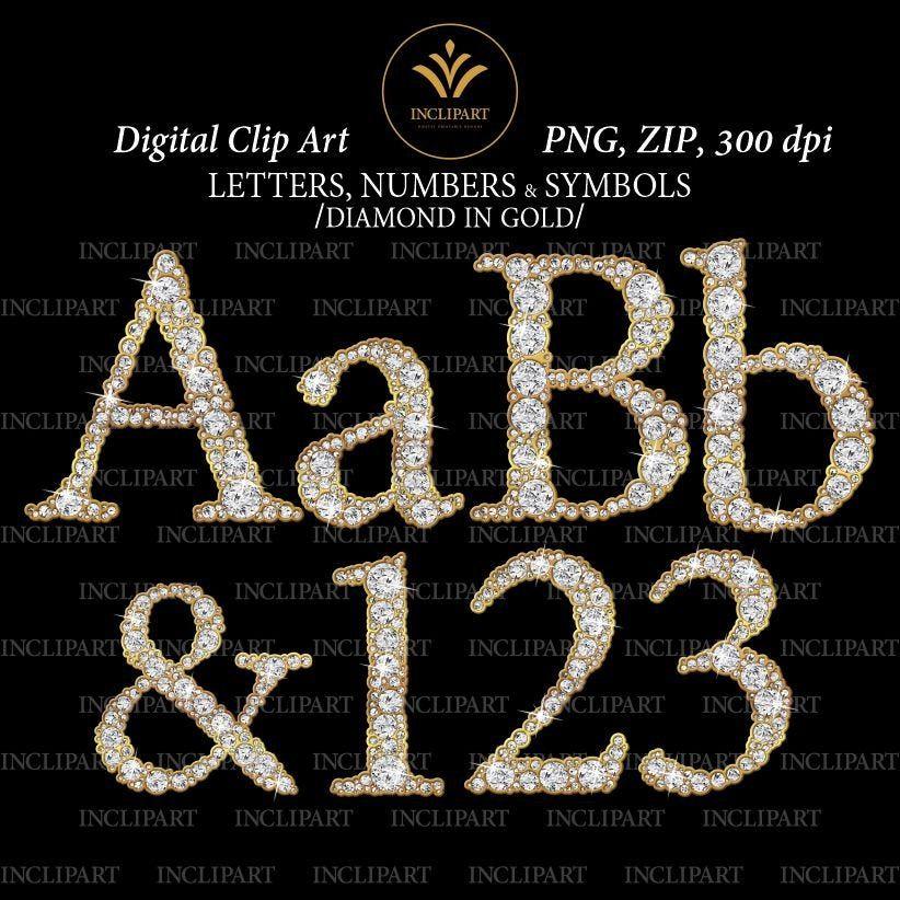Alphabet Diamond Gold Png Files Digital Clip Art Diamond Etsy Clip Art Digital Clip Art Lettering Alphabet