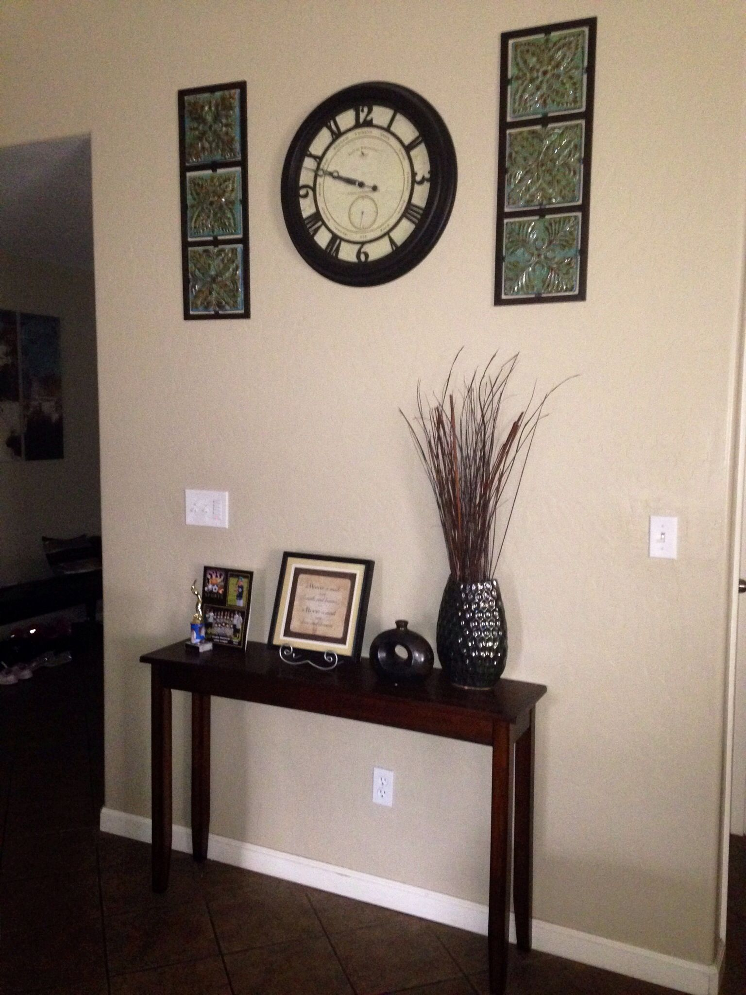 Narrow Entryway Table Wall Clock With Wall Decorations Work Well