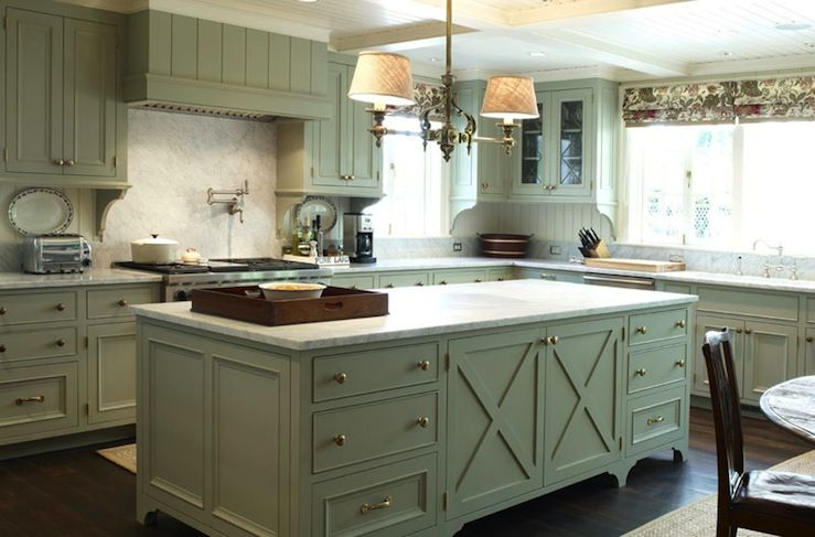 Country Green Kitchen Cabinets Chic modern French country kitchen with green gray kitchen