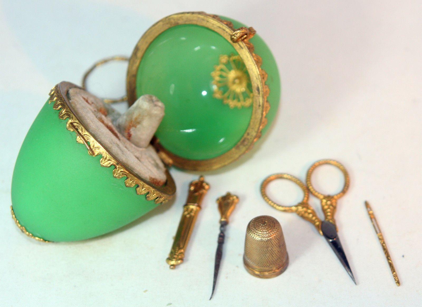 Antique c1860 Palais Royal Complete Etui Green Ormolu Chatelaine Original Ring | eBay