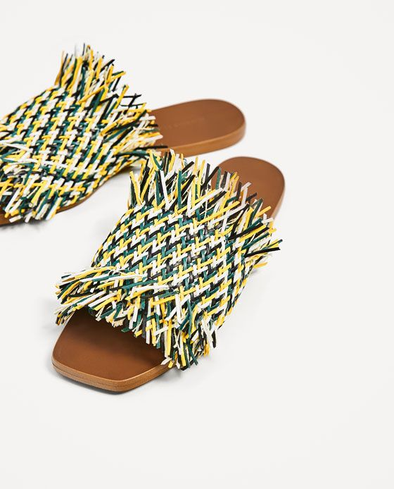 Image 4 of MULTICOLORED FLAT BRAIDED SLIDES from Zara