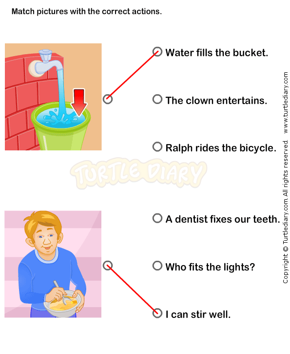 Kindergarten verb worksheet Match the sentences to pictures – Verbs Worksheet for Kindergarten