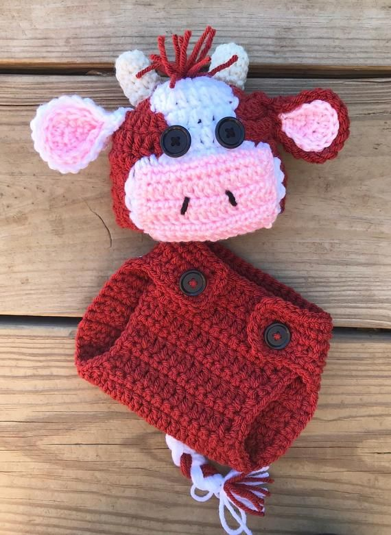 Photo of Cow Outfit, Red Cow, baby outfit, baby cow, calf, crochet, newborn pictures, photo shoot, brown cow,