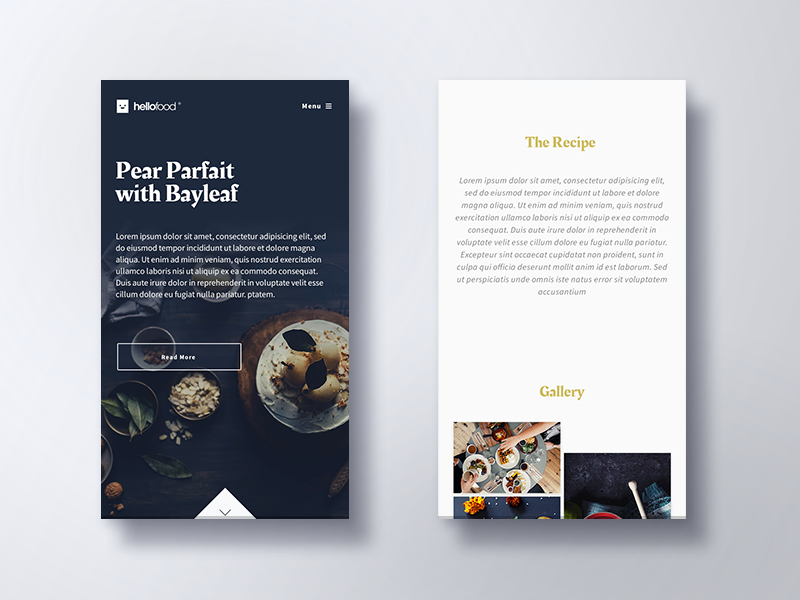 Hello Food Mobile Inspiration App Design Web Design