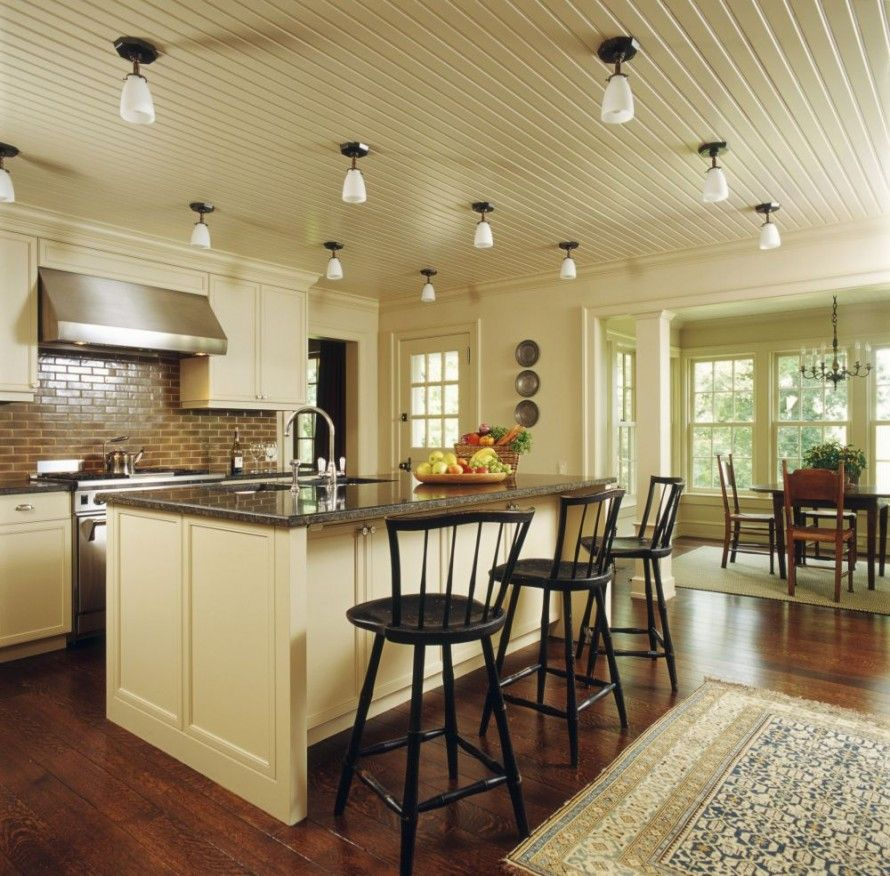 Great Ways For Lighting A Kitchen: Interior:Attractive Kitchen Ceiling Ideas With Lighting