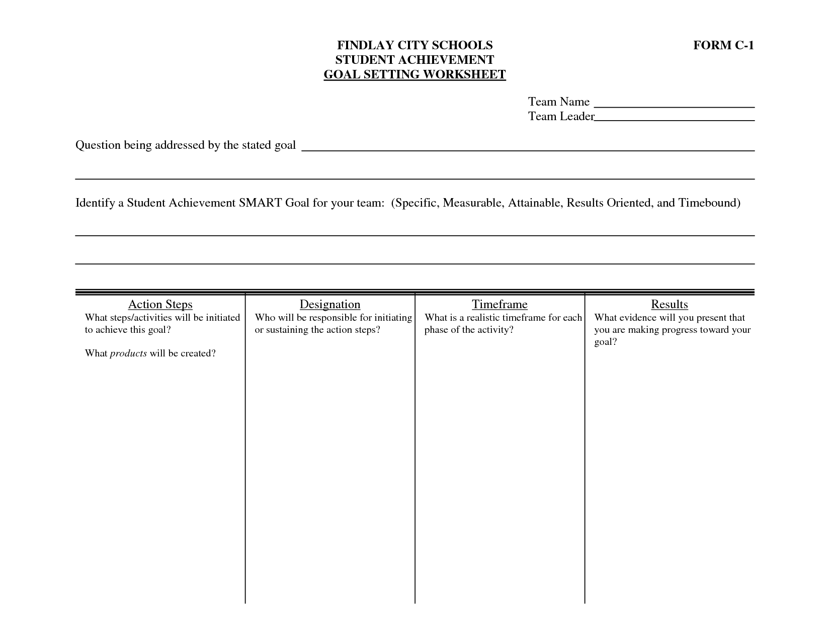 Middle School Student Goal Setting Worksheet