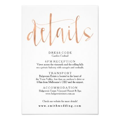 Rose Gold Wedding Details Info Card Invitations Custom Unique Diy Personalize Occasions
