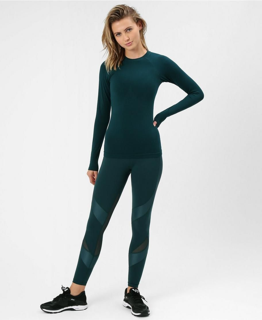 0298b6d015e26 Glisten Bamboo Long Sleeve Workout Top - Midnight Teal