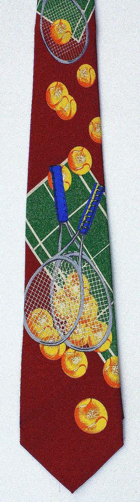 New Tennis Court Mens Necktie Game Racquet Ball Player Balls Red Sports Neck Tie #Parquet #NeckTie