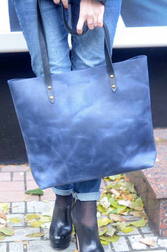 87a013686837 Personalized leather tote bag navy blue leather tote deep blue ...