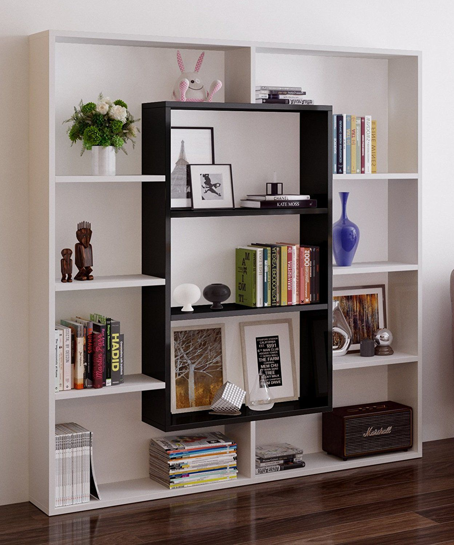 Venus Bookcase Room Divider Free Standing Shelving Unit For Living Room Or Office In A Modern Design White Black Ama Shelving Shelves Bookshelf Design #shelf #unit #living #room