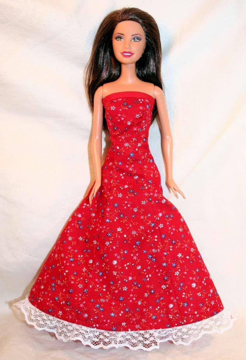 Modelli dei vestiti fai da te per Barbie - Abito rosso  3fddba436e4