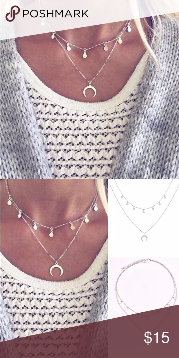 ▫️2 for $15▫️ Crescent Necklace Silver toned double layer necklace featu... -