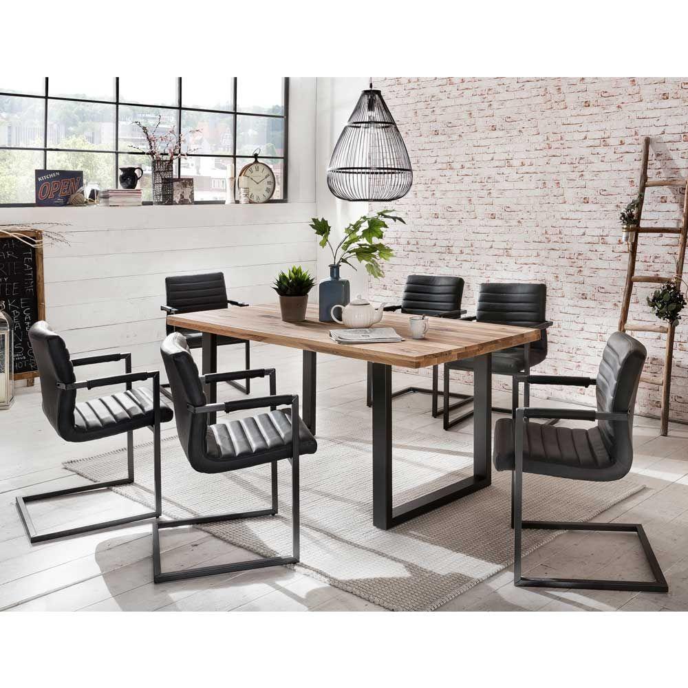 essgruppe aus eiche massivholz freischwinger sessel 7 teilig jetzt bestellen unter https. Black Bedroom Furniture Sets. Home Design Ideas