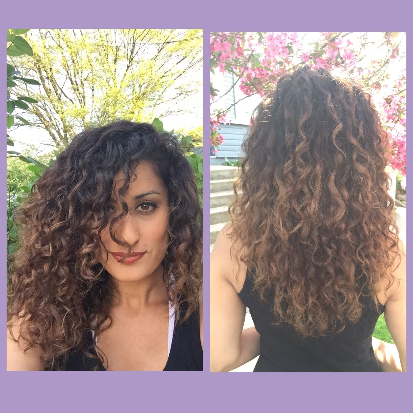 dark brown curly hair with light brown highlights
