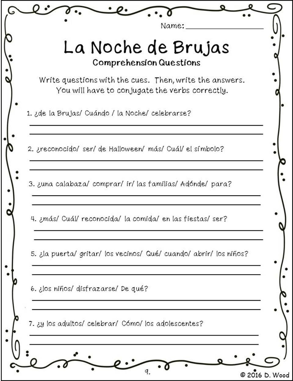 Worksheets Spanish Comprehension Worksheets halloween spanish la noche de brujas debbie wood bilingual english reading on the celebration of it includes a total 15 worksheets that focus writin