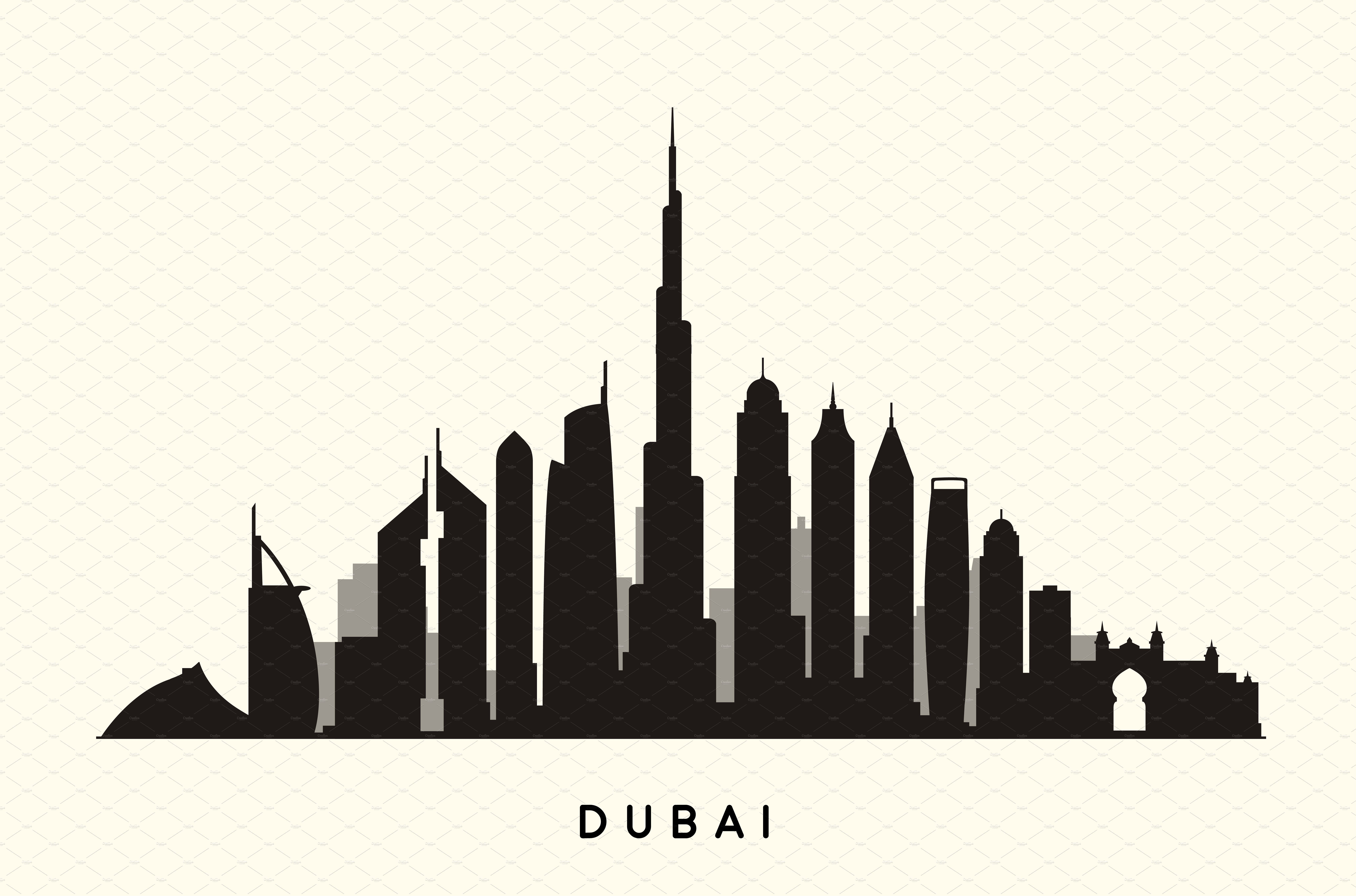 Dubai Abstract Skyline City Illustration Vector Graphics Abstract