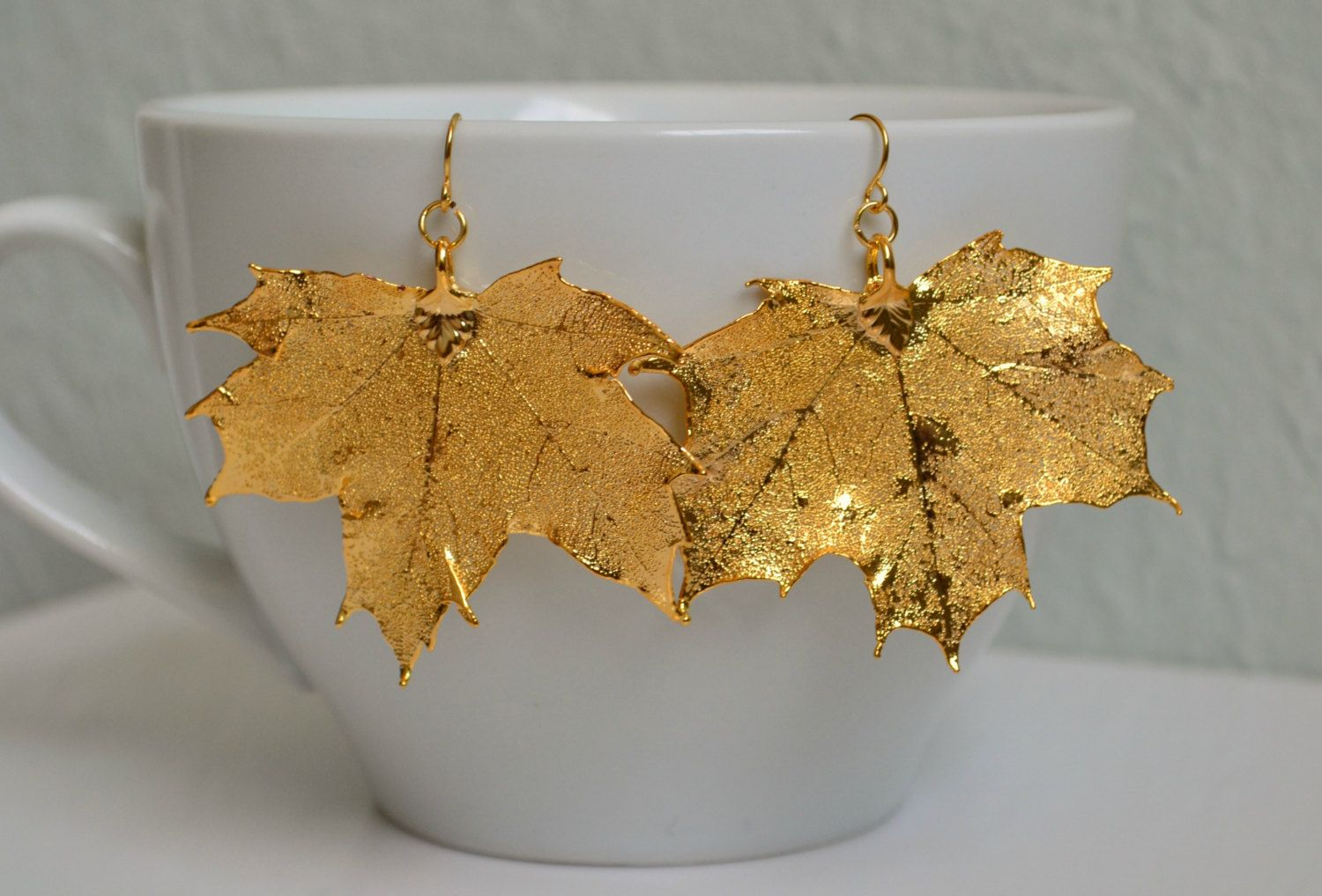 Gold Maple Leaf Earrings - Real Leaves Electroplated in 24 ...