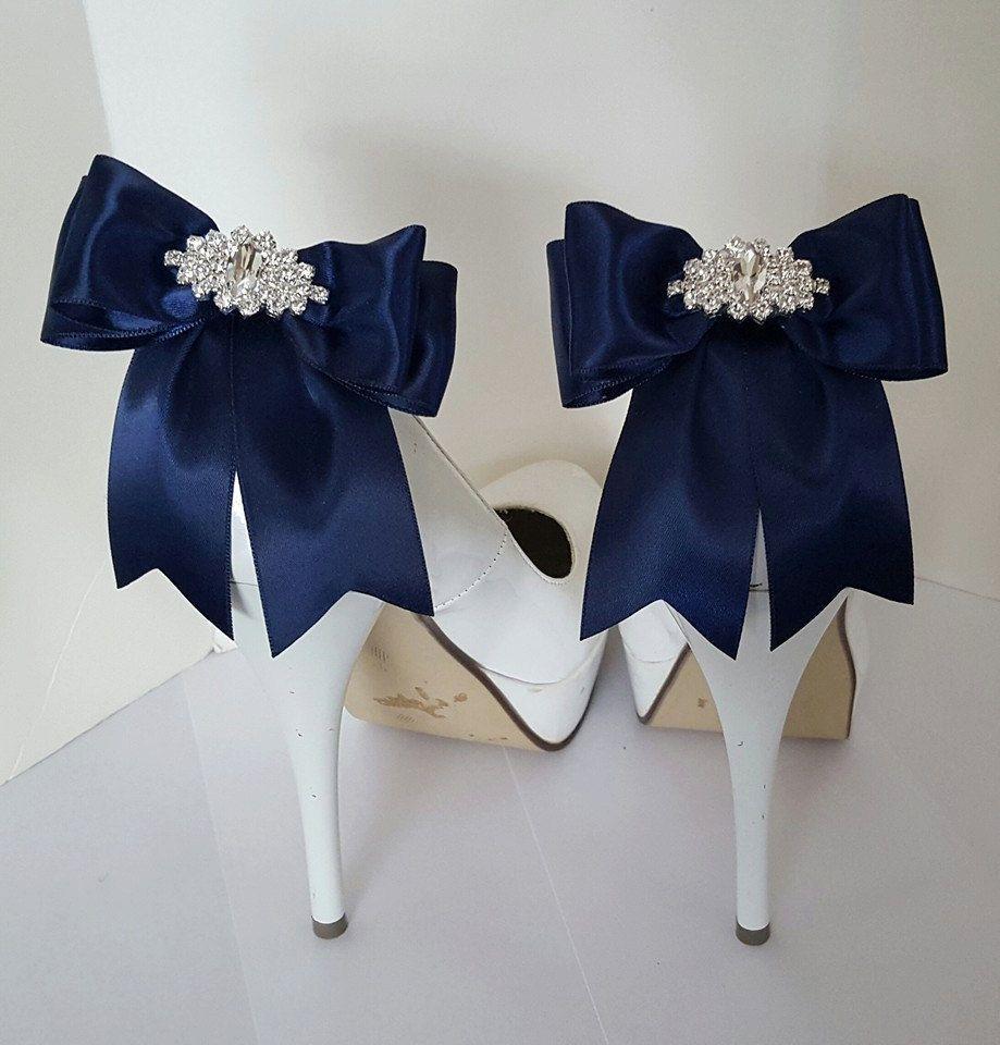 Navy blue wedding shoe clipsbridal shoe clips many colors satin