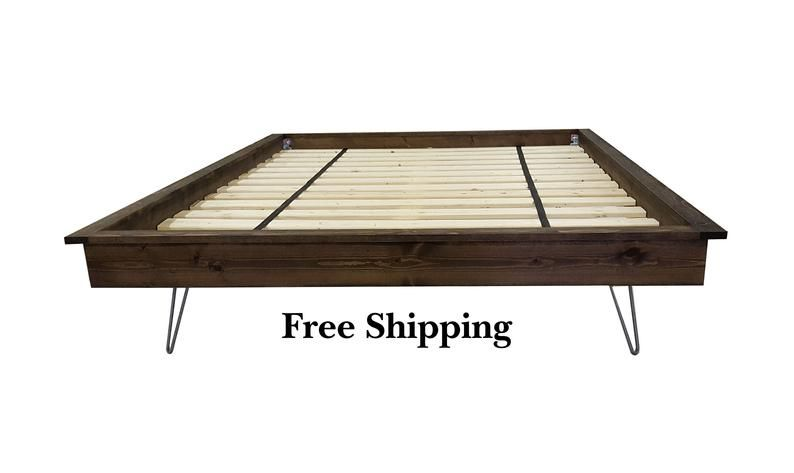 Platform Bed Hairpin Leg Bed Hairpin Legs Industrial Bed Etsy Wood Beds Bed Frame Legs Reclaimed Wood Beds