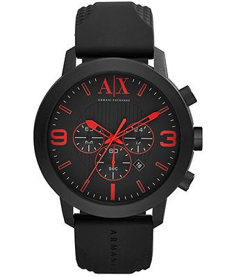 A|X Armani Exchange Watch, Men's Chronograph Black Silicone Strap 49mm AX1354 - Watches - Jewelry & Watches - Macy's