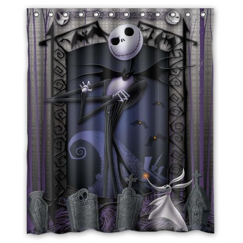 1 Pc Waterproof Nightmare-Before-Christmas Shower Curtain for Home /& Bathroom