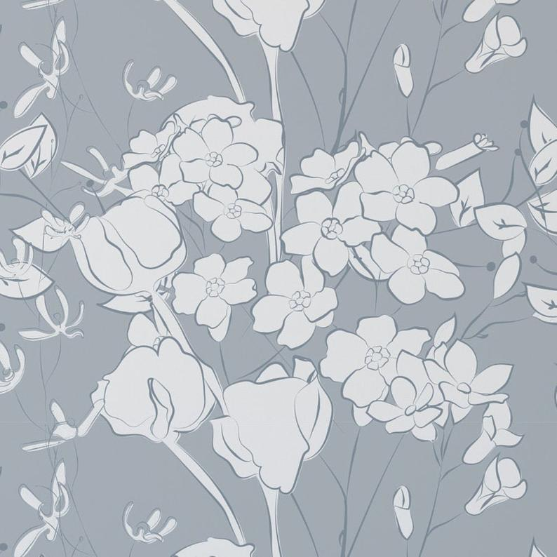 Pale Blue Floral Wallpaper. Removable and Self Adhesive