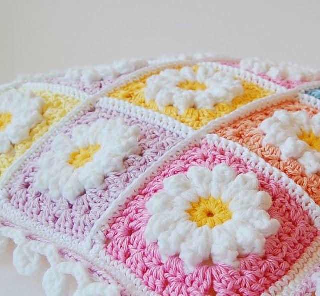 Daisy Granny Square Pillow Kussen Haken Haken Crochet