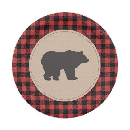 Lumberjack Paper Plates Red black Plaid Woodland  sc 1 st  Pinterest & Lumberjack Paper Plates Red black Plaid Woodland | Black plaid Red ...