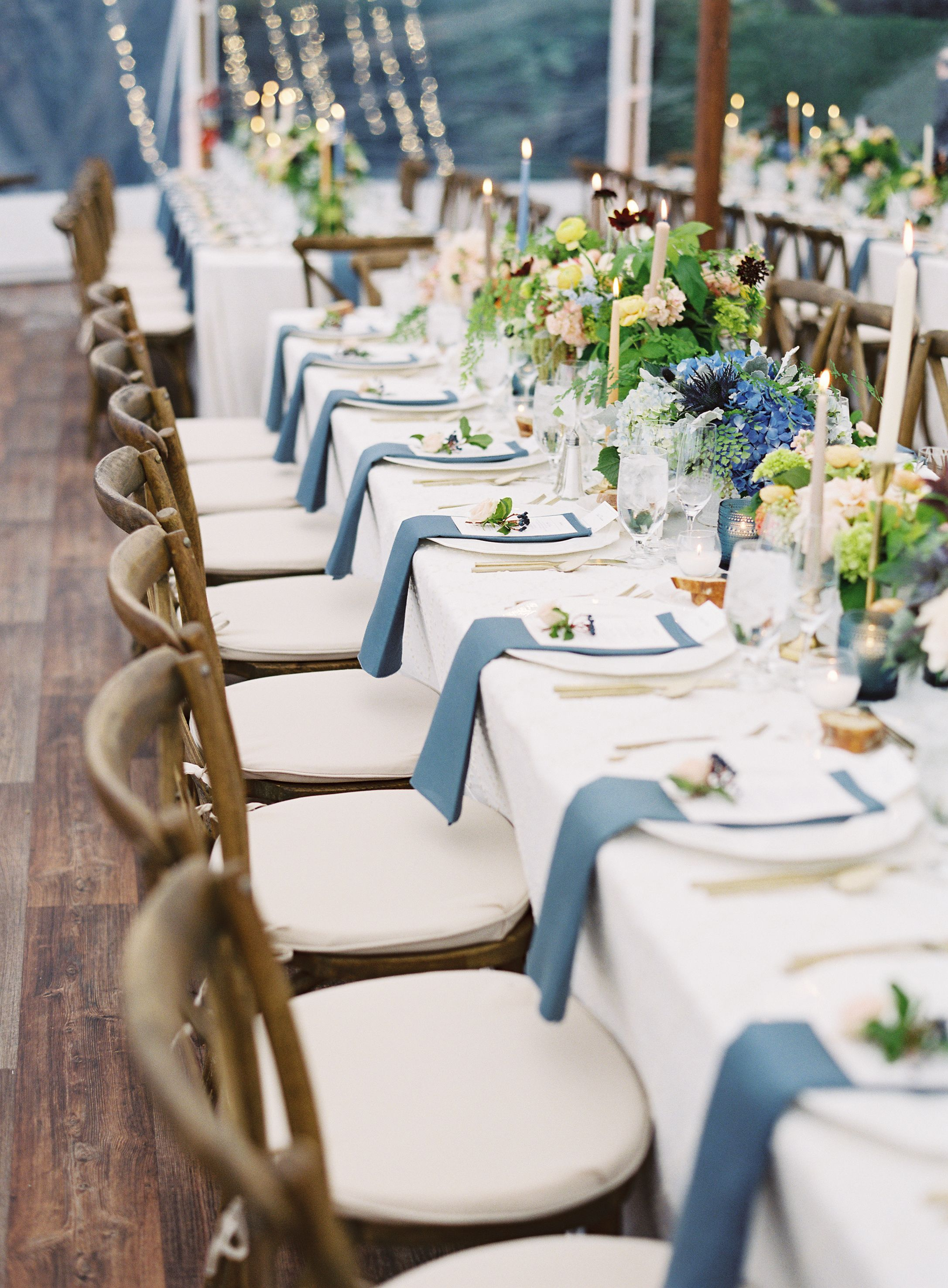 Modern Art-Inspired Wedding With Pops of French Blue | Linen rentals ...