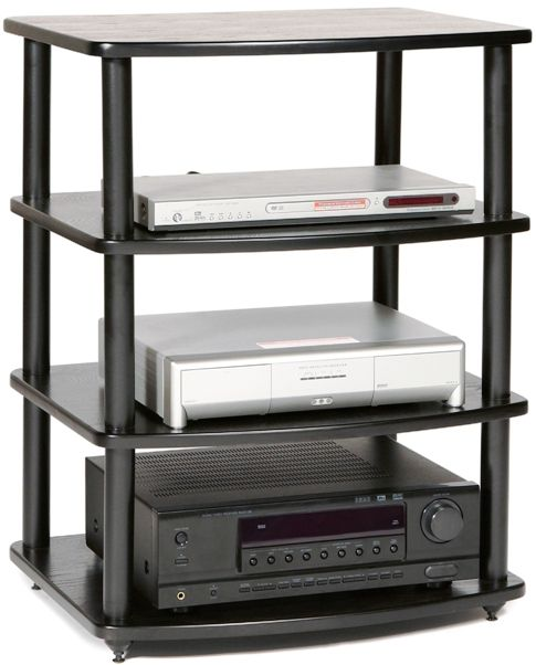 Plateau 758019002071 Model SE-A4BB SE Series Modular Rack Audio/Video Stand, Black, Superior Modern Styling using real Oak, Modular / Expandable, Black baked powder-coat finish, Easy assembly, Overall approx. size: 31h x 23w x 19d., Adjustable Spi
