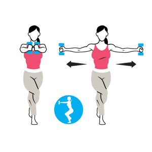 Eagle Chest Fly Hold A Pair Of Dumbbells In Front You At Shoulder Height Palms Facing Cross Your Right Leg Over Left Loop Foot