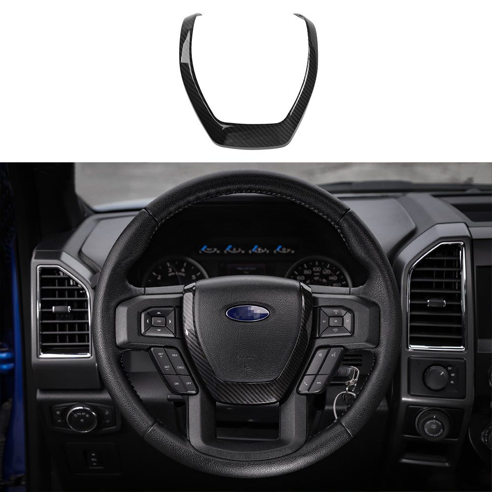 Voodonala Black Carbon Fiber Texture Steering Wheel Covers Trim