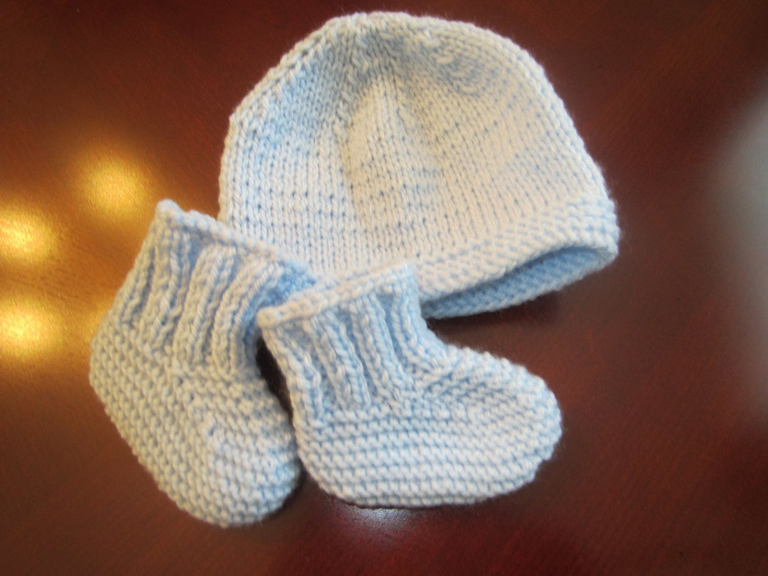 Adorable Blue Hat And Booties Set For Newborn by MonkeyCatBoutique on Etsy